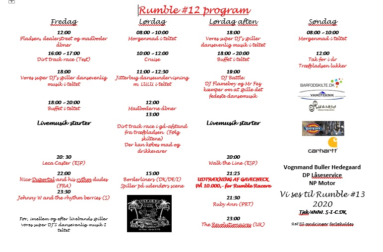 Program for Rumble 12